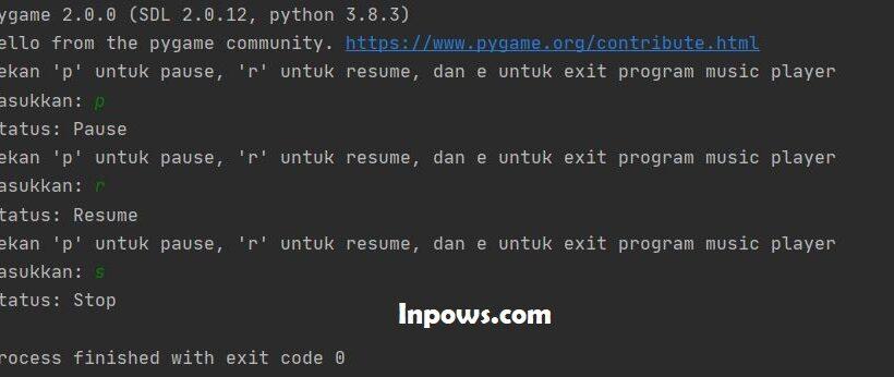 Music Player Sederhana Menggunakan Pygame di Python